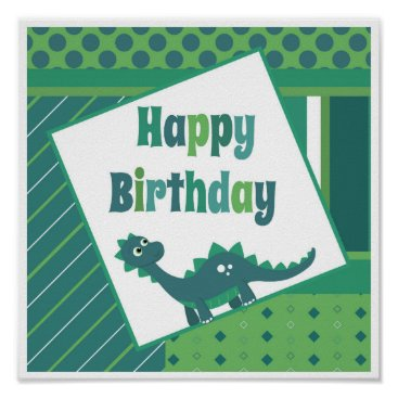 Art Themed Happy birthday green/ blue dinosaur poster. poster