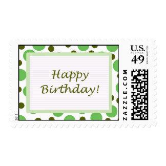 Happy Birthday! Green Dots Light Postage