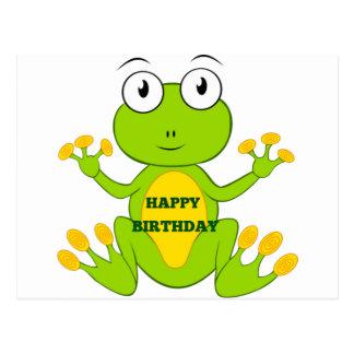 Happy Birthday Green Frog Postcard