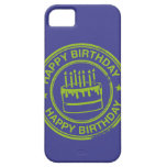 Happy Birthday -green rubber stamp effect- iPhone 5 Covers
