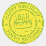 Happy Birthday -green rubber stamp effect- Round Stickers