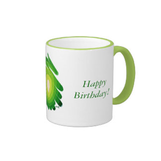 Happy Birthday Green Spirals Art Chakra Ringer Mug
