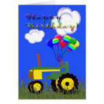 Happy Birthday Green Tractor Card