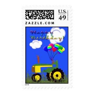 Happy Birthday Green Tractor Postage