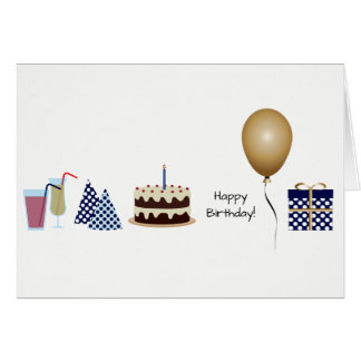 Happy Birthday Greeting Card - in navy blue