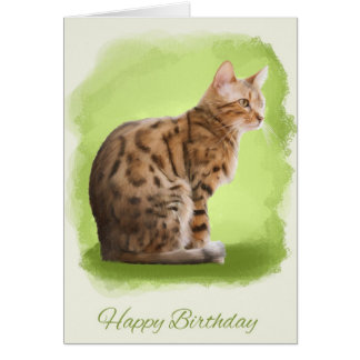 happy birthday greeting card with painted bengal c