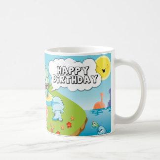 happy birthday greeting  from cute dinosaur island mugs