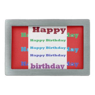 Happy Birthday Greeting Script Acrylic Red base 99 Belt Buckle