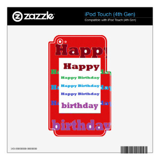 Happy Birthday Greeting Script Acrylic Red base 99 iPod Touch 4G Decal