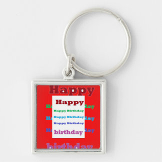 Happy Birthday Greeting Script Acrylic Red base 99 Keychain
