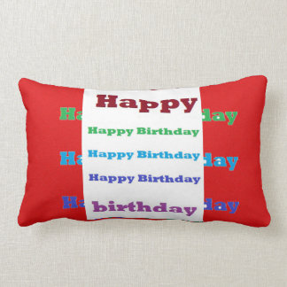 Happy Birthday Greeting Script Acrylic Red base 99 Lumbar Pillow