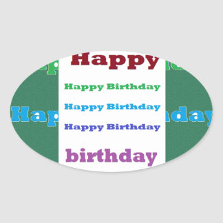 Happy Birthday Greeting Script Acrylic Red base 99 Oval Sticker