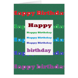 Happy Birthday Greeting Script Text Green base fun Card