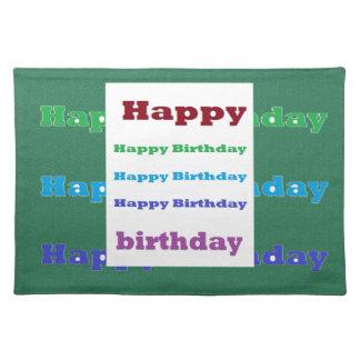 Happy Birthday Greeting Script Text Green base fun Cloth Place Mat