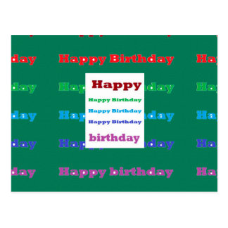 Happy Birthday Greeting Script Text Green base fun Postcard