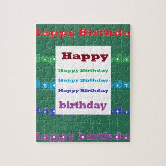 Happy Birthday Greeting Script Text Green base fun Puzzle