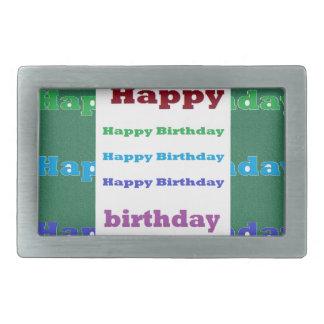 Happy Birthday Greeting Script Text Green base fun Rectangular Belt Buckle