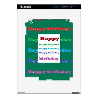 Happy Birthday Greeting Script Text Green base fun iPad 3 Skin