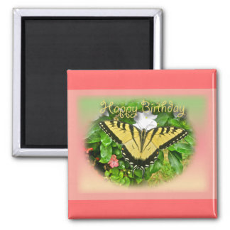 Happy Birthday Greeting Tiger Swallowtail Butterfl 2 Inch Square Magnet