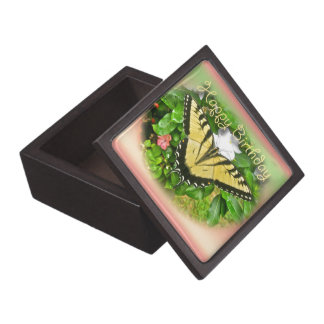 Happy Birthday Greeting Tiger Swallowtail Butterfl Jewelry Box