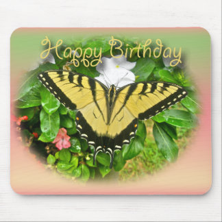 Happy Birthday Greeting Tiger Swallowtail Butterfl Mouse Pad