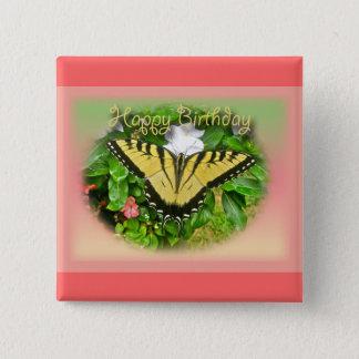 Happy Birthday Greeting Tiger Swallowtail Butterfl Pinback Button