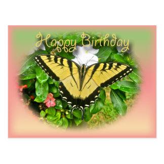 Happy Birthday Greeting Tiger Swallowtail Butterfl Postcard