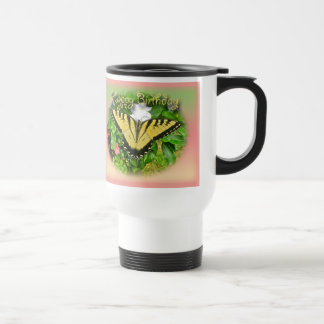 Happy Birthday Greeting Tiger Swallowtail Butterfl Travel Mug