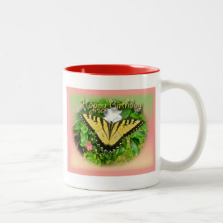 Happy Birthday Greeting Tiger Swallowtail Butterfl Two-Tone Coffee Mug