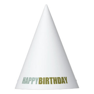 Happy Birthday Grey, Blue, Green Party Hat