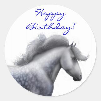 Happy Birthday Grey Horse Sticker