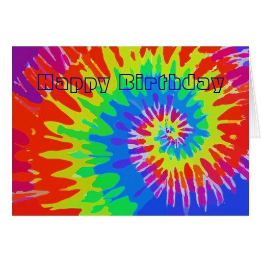 happy birthday groovy tie dye card zazzle