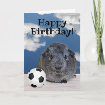 Happy Birthday Guinea Pig Black White Soccer Ball Card