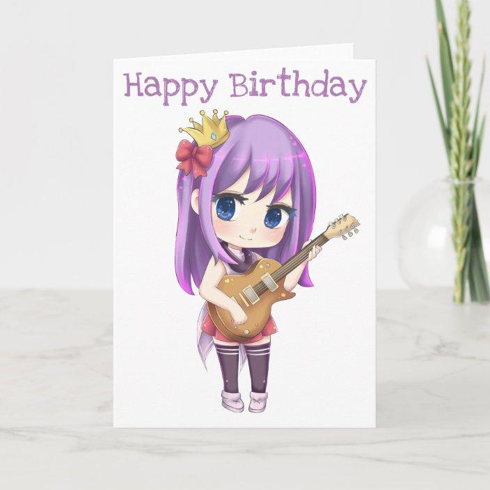 Happy Birthday Guitar Girl Card Zazzle Com