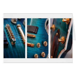 Happy Birthday - Guitar in Blue Greeting Card