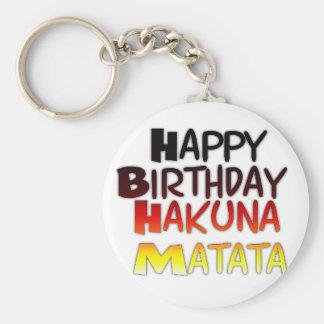 Happy Birthday Hakuna Matata Inspirational graphic Basic Round Button Keychain