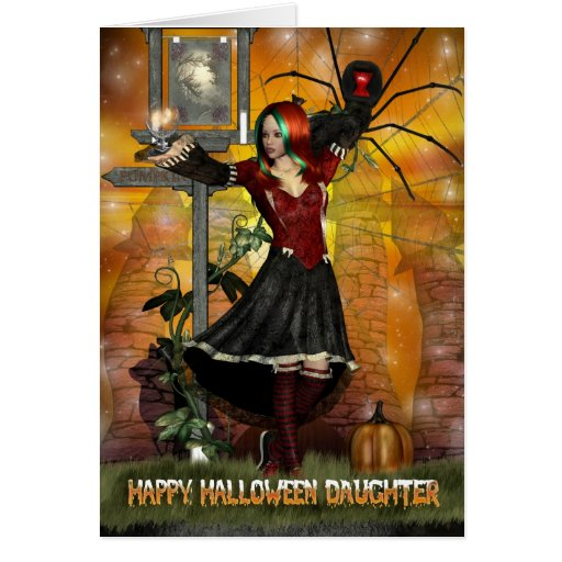 Happy Birthday Halloween Greeting with witch spide Greeting Card