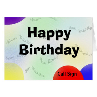 Happy Birthday Ham Radio Waves Card - Customize It