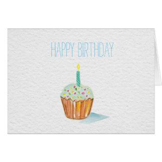 happy birthday hand painted cupcake card