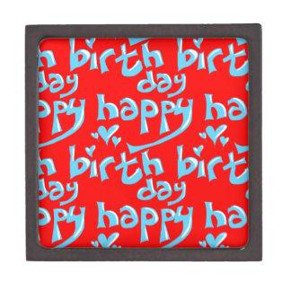 happy birthday hand writing text tiled gift box
