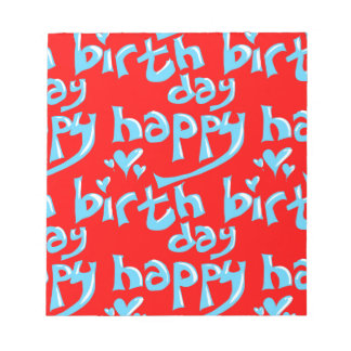 happy birthday hand writing text tiled notepad