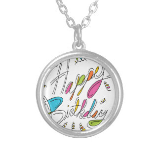 Happy Birthday Handwriting Art Silver Plated Necklace