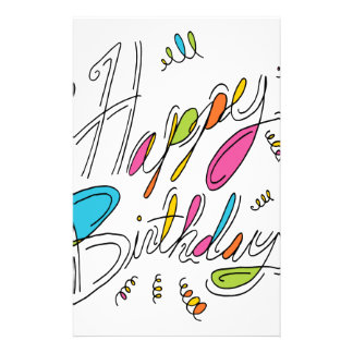 Happy Birthday Handwriting Art Stationery