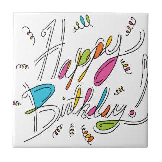 Happy Birthday Handwriting Art Tile