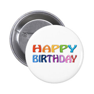 HAPPY BIRTHDAY - Happy 3D-like Colourful Gift 2 Inch Round Button