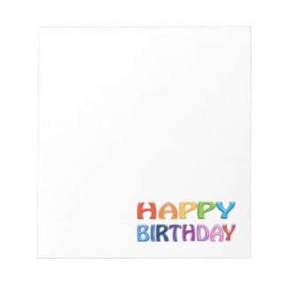 HAPPY BIRTHDAY - Happy 3D-like Colourful Gift Notepad