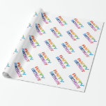 HAPPY BIRTHDAY - Happy 3D-like Colourful Gift Gift Wrapping Paper