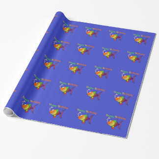 Happy Birthday - Happy Colorful Cartoon Fish Wrapping Paper