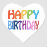 Happy Birthday - Happy Colourful Greeting Heart Sticker