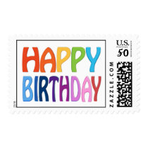Happy Birthday - Happy Colourful Post Stamp